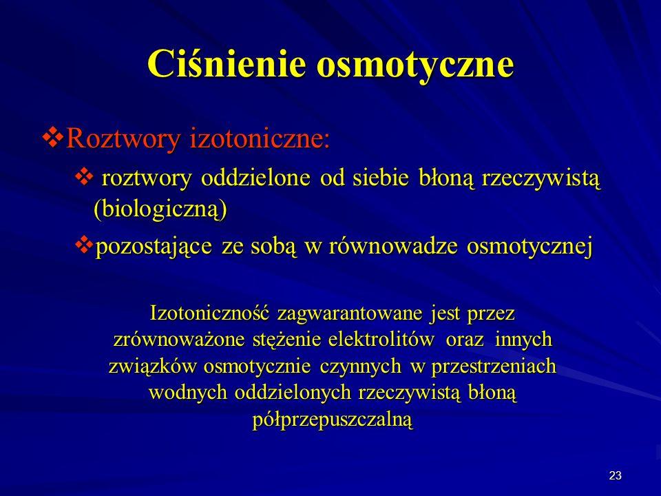 Ciśnienie osmotyczne Roztwory izotoniczne: