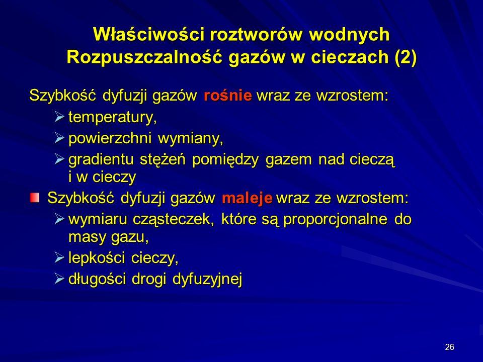 Właściwości roztworów wodnych Rozpuszczalność gazów w cieczach (2)