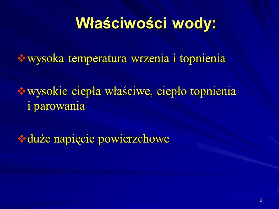 Właściwości wody: wysoka temperatura wrzenia i topnienia