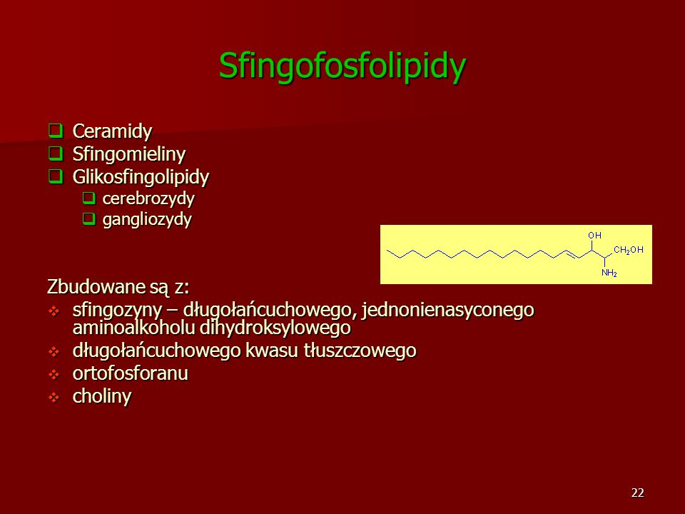 Sfingofosfolipidy Ceramidy Sfingomieliny Glikosfingolipidy