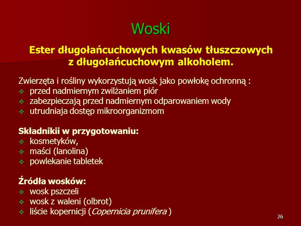 Woski Ester długołańcuchowych kwasów tłuszczowych z długołańcuchowym alkoholem.