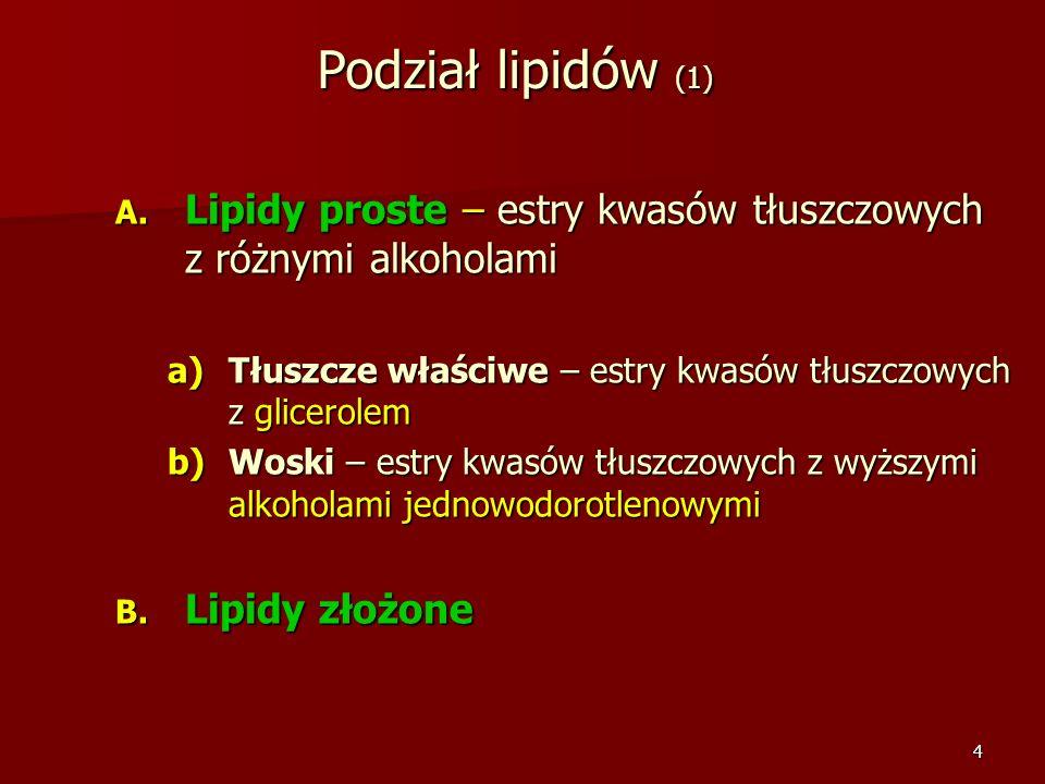 Podział lipidów (1) Lipidy proste – estry kwasów tłuszczowych z różnymi alkoholami. Tłuszcze właściwe – estry kwasów tłuszczowych z glicerolem.