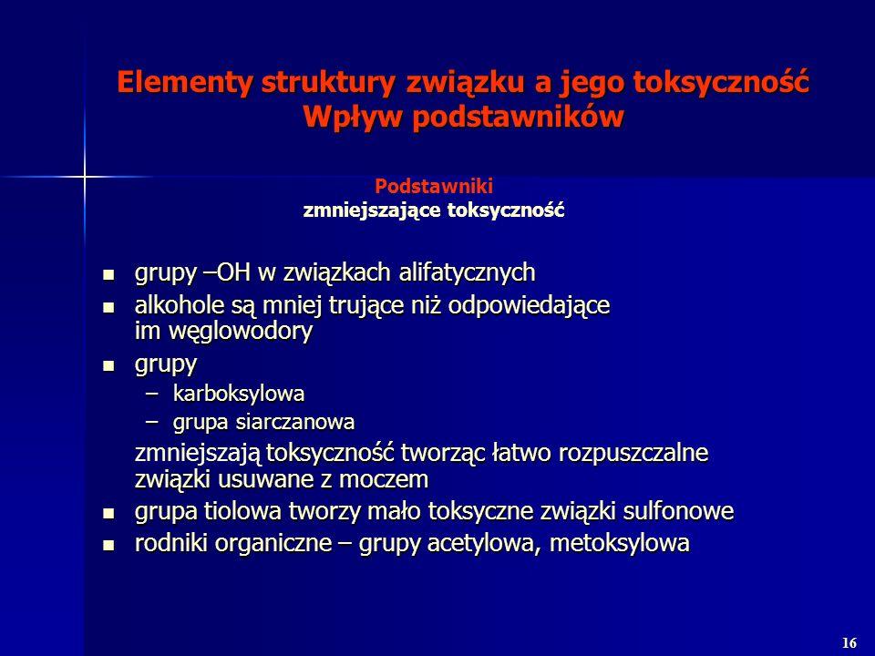 Elementy struktury związku a jego toksyczność Wpływ podstawników