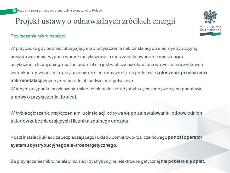Projekt ustawy o odnawialnych źródłach energii