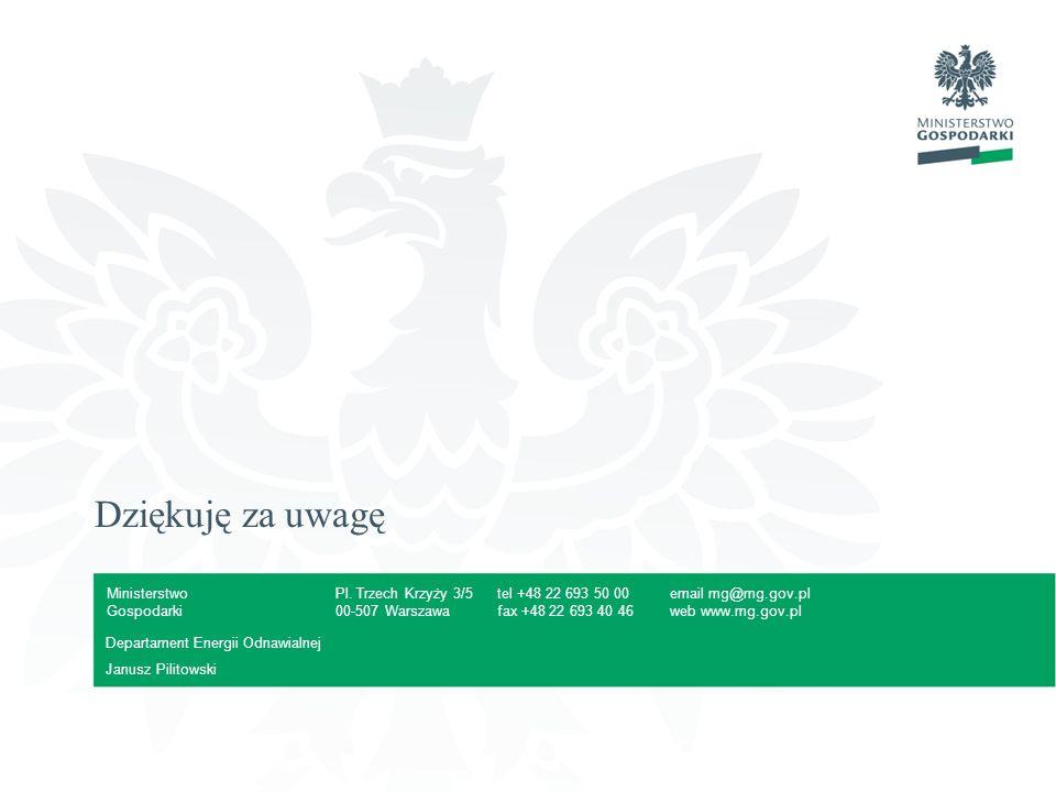 Dziękuję za uwagę Departament Energii Odnawialnej Janusz Pilitowski