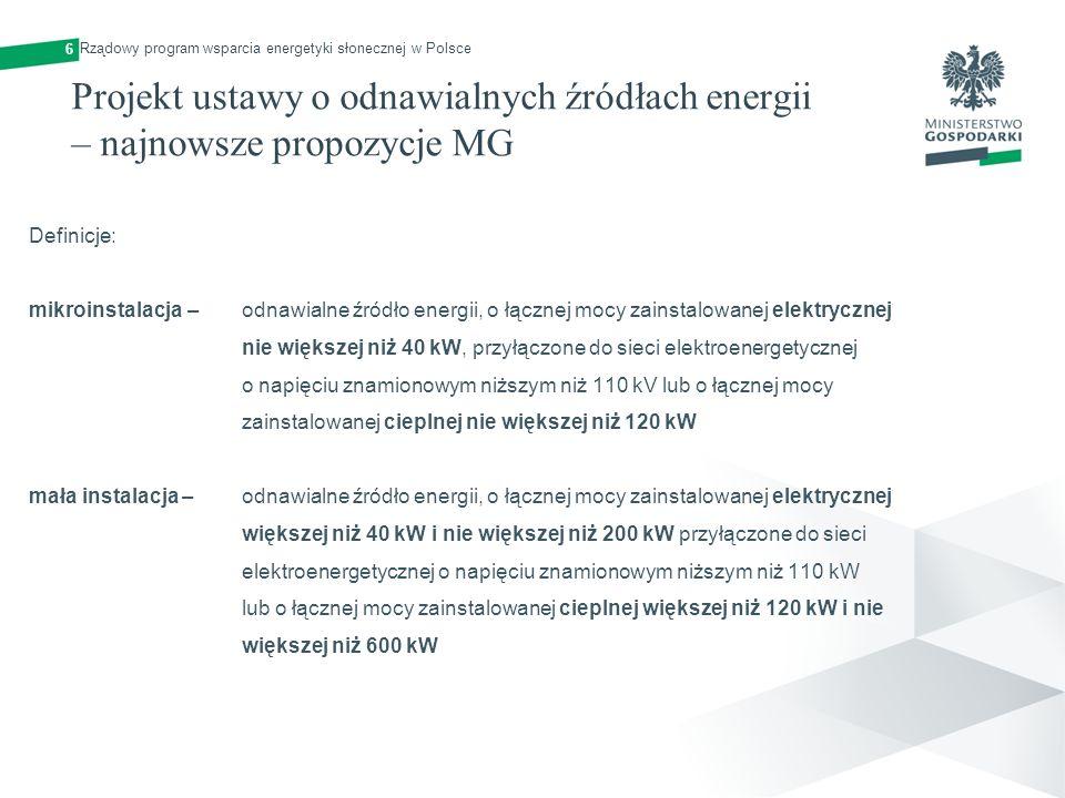 6 Rządowy program wsparcia energetyki słonecznej w Polsce. Projekt ustawy o odnawialnych źródłach energii – najnowsze propozycje MG.