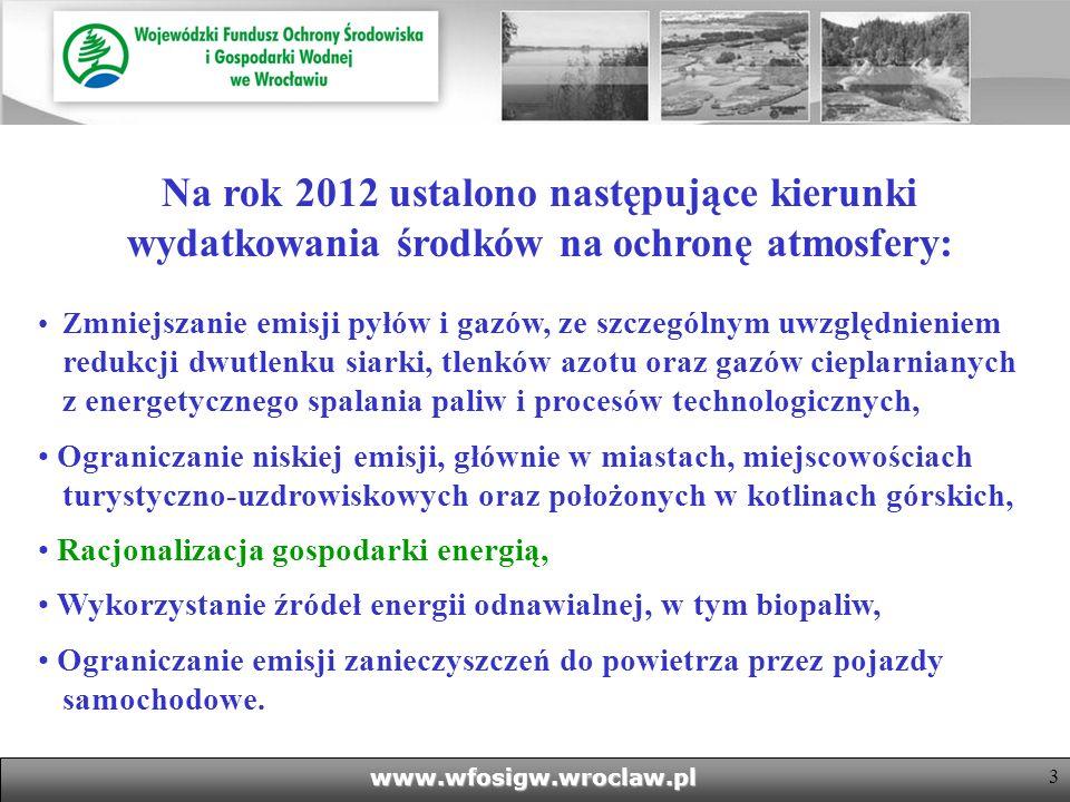 Na rok 2012 ustalono następujące kierunki wydatkowania środków na ochronę atmosfery: