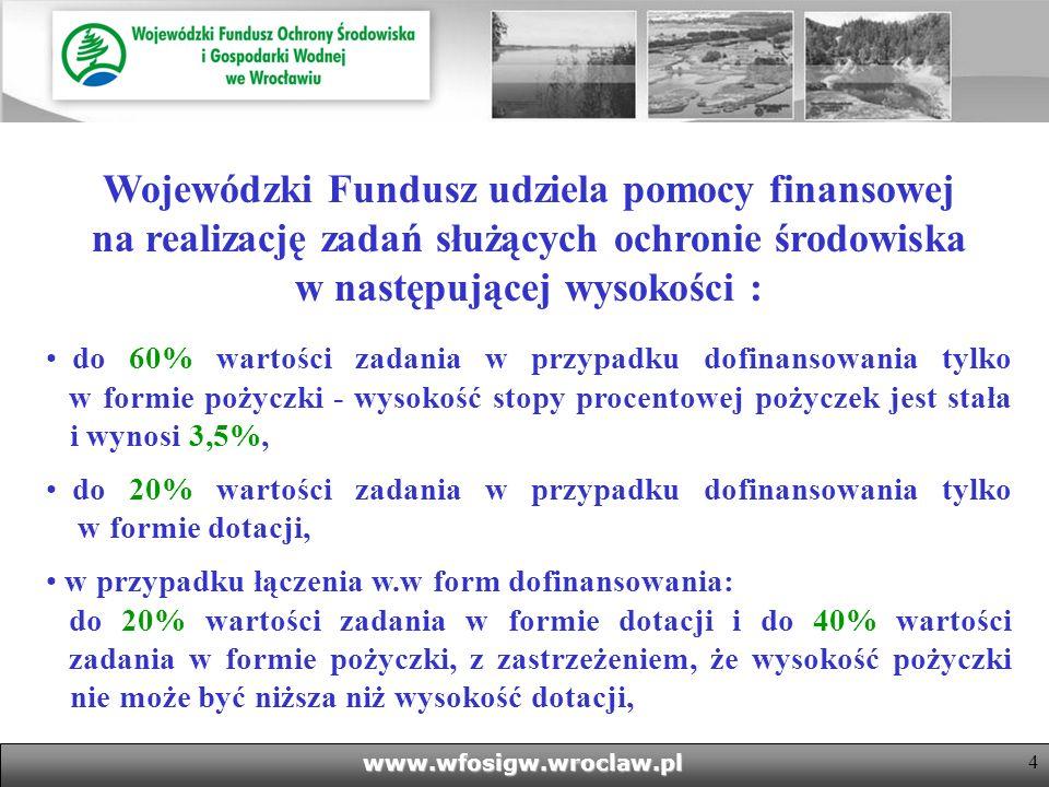 Wojewódzki Fundusz udziela pomocy finansowej na realizację zadań służących ochronie środowiska w następującej wysokości :