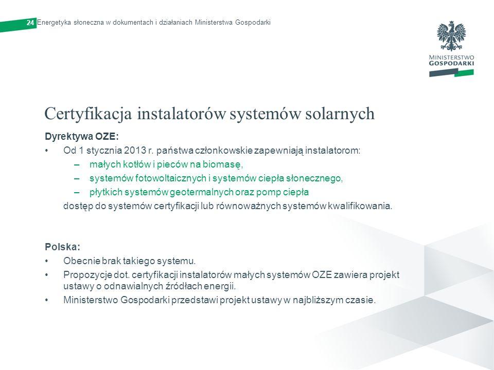 Certyfikacja instalatorów systemów solarnych