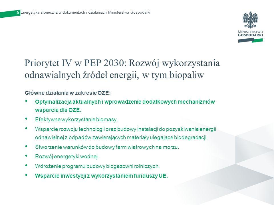 5 Energetyka słoneczna w dokumentach i działaniach Ministerstwa Gospodarki.