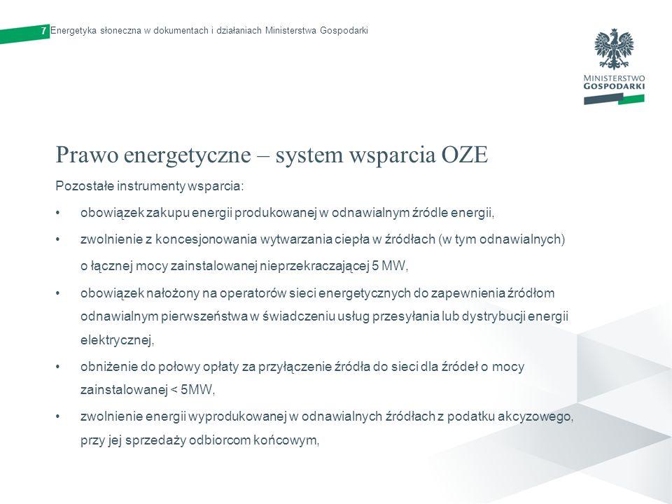 Prawo energetyczne – system wsparcia OZE