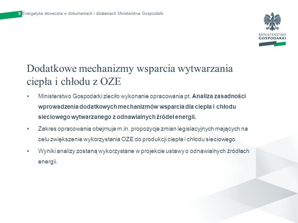 Dodatkowe mechanizmy wsparcia wytwarzania ciepła i chłodu z OZE