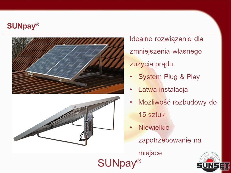 SUNpay® Idealne rozwiązanie dla zmniejszenia własnego zużycia prądu. System Plug & Play. Łatwa instalacja.