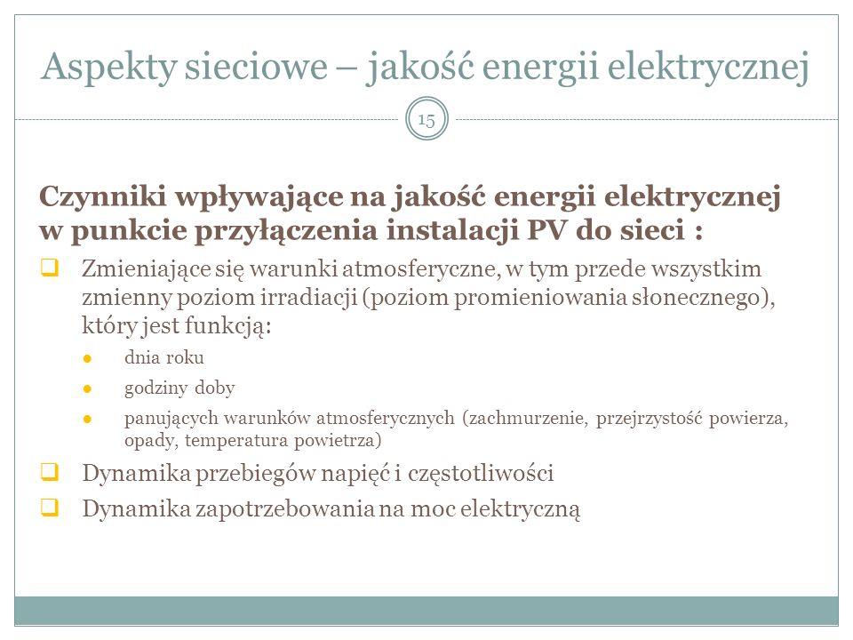 Aspekty sieciowe – jakość energii elektrycznej
