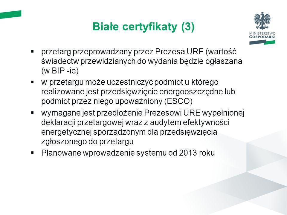 Białe certyfikaty (3)przetarg przeprowadzany przez Prezesa URE (wartość świadectw przewidzianych do wydania będzie ogłaszana (w BIP -ie)