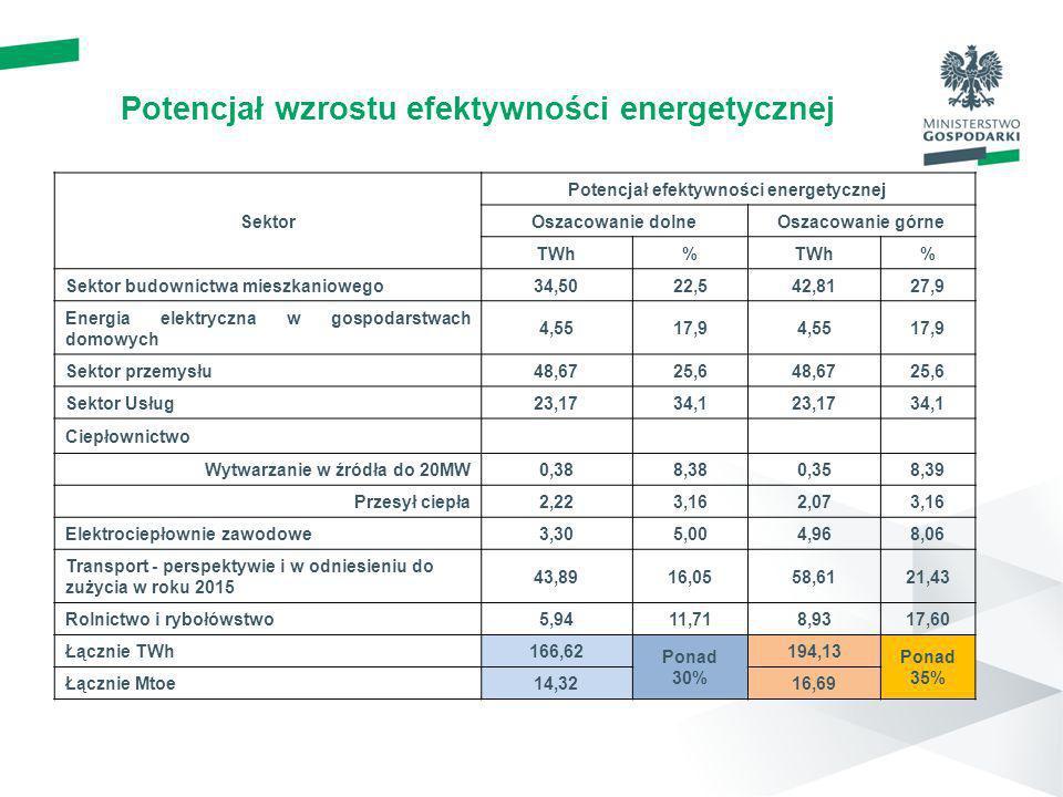 Potencjał wzrostu efektywności energetycznej