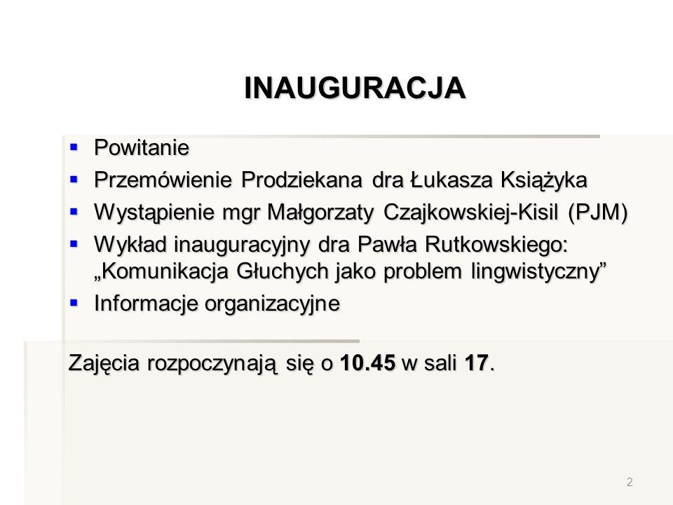 INAUGURACJA Powitanie Przemówienie Prodziekana dra Łukasza Książyka