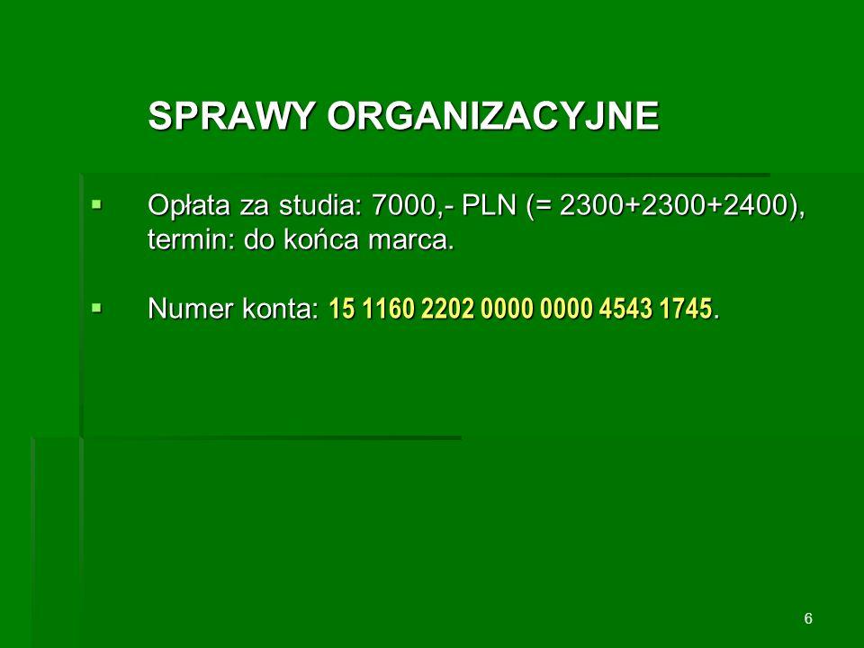 SPRAWY ORGANIZACYJNE Opłata za studia: 7000,- PLN (= 2300+2300+2400), termin: do końca marca. Numer konta: 15 1160 2202 0000 0000 4543 1745.