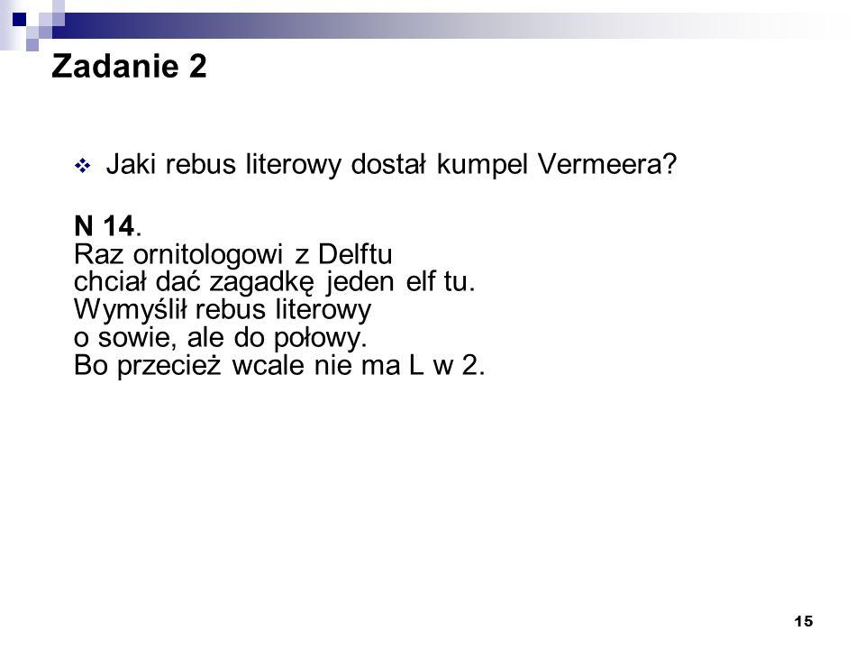 Zadanie 2 Jaki rebus literowy dostał kumpel Vermeera N 14.