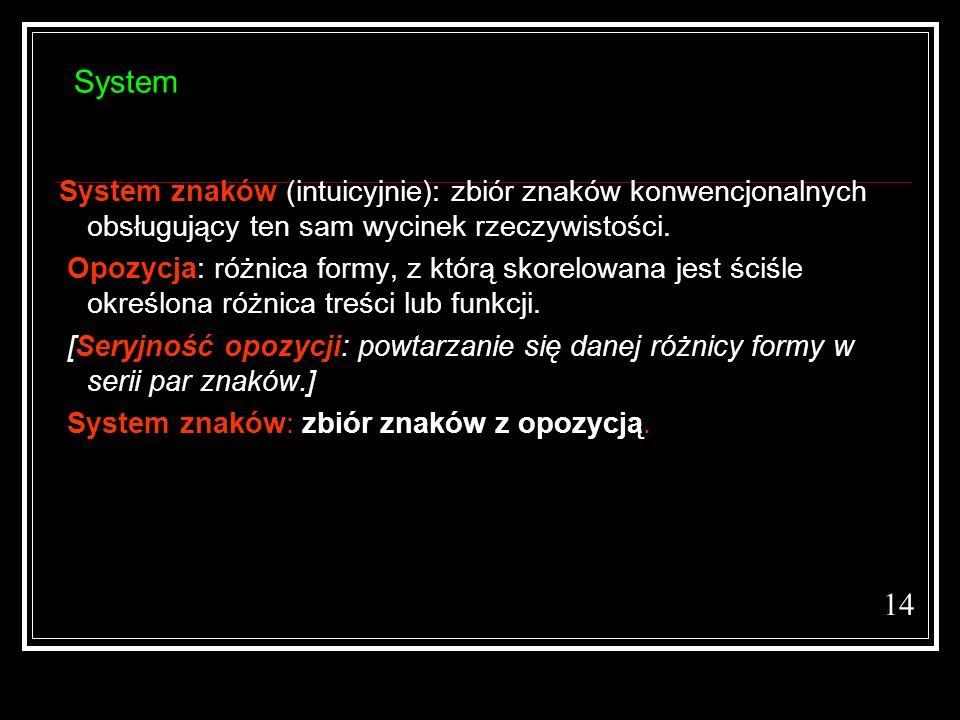 System System znaków (intuicyjnie): zbiór znaków konwencjonalnych obsługujący ten sam wycinek rzeczywistości.