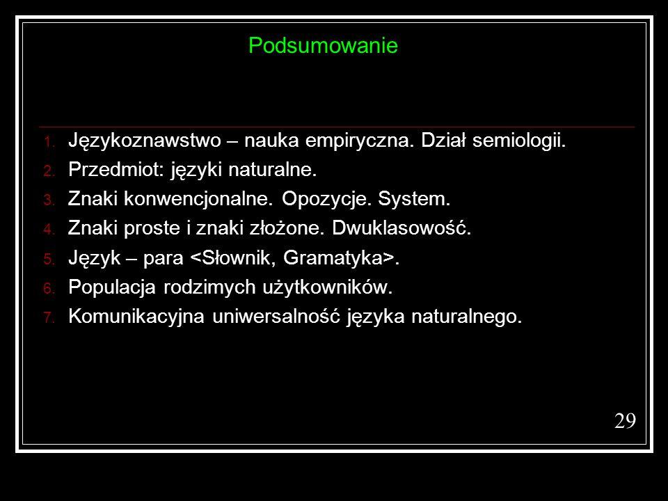 Podsumowanie 29 Językoznawstwo – nauka empiryczna. Dział semiologii.
