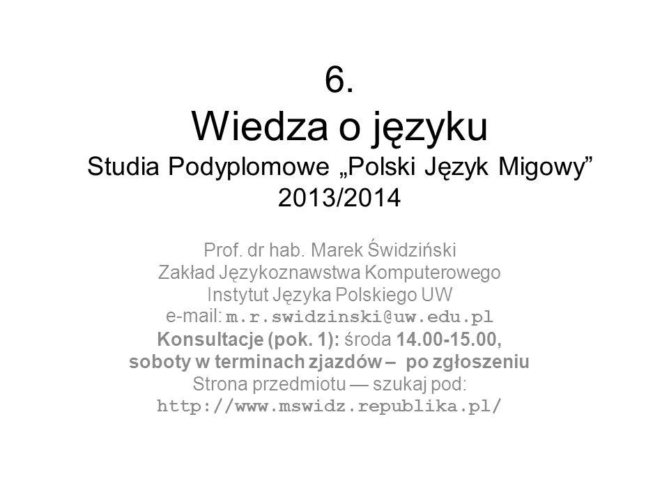 """6. Wiedza o języku Studia Podyplomowe """"Polski Język Migowy 2013/2014"""