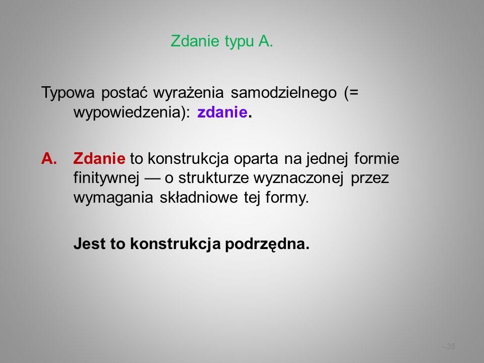 Zdanie typu A. Typowa postać wyrażenia samodzielnego (= wypowiedzenia): zdanie.