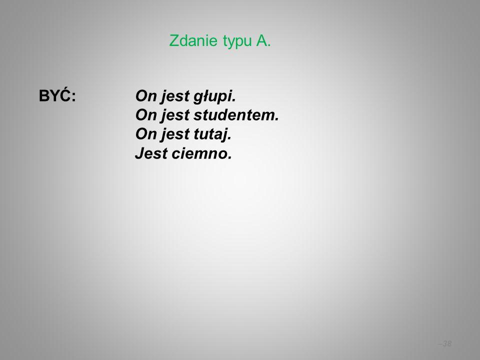 Zdanie typu A. BYĆ: On jest głupi. On jest studentem. On jest tutaj. Jest ciemno.