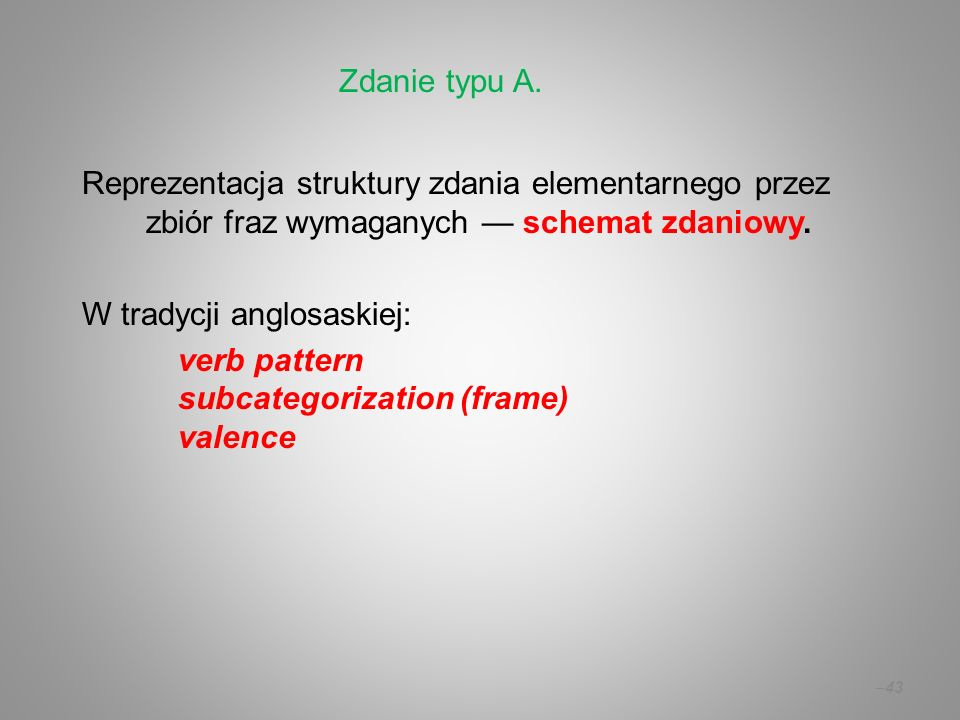 Zdanie typu A. Reprezentacja struktury zdania elementarnego przez zbiór fraz wymaganych — schemat zdaniowy.