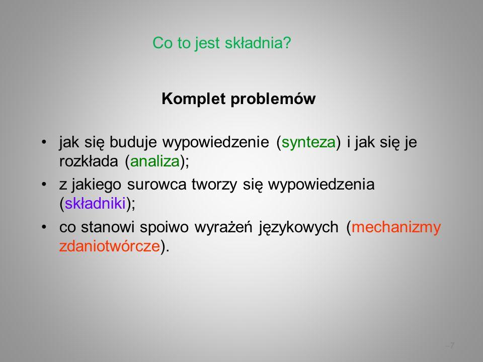 Co to jest składnia Komplet problemów jak się buduje wypowiedzenie (synteza) i jak się je rozkłada (analiza);