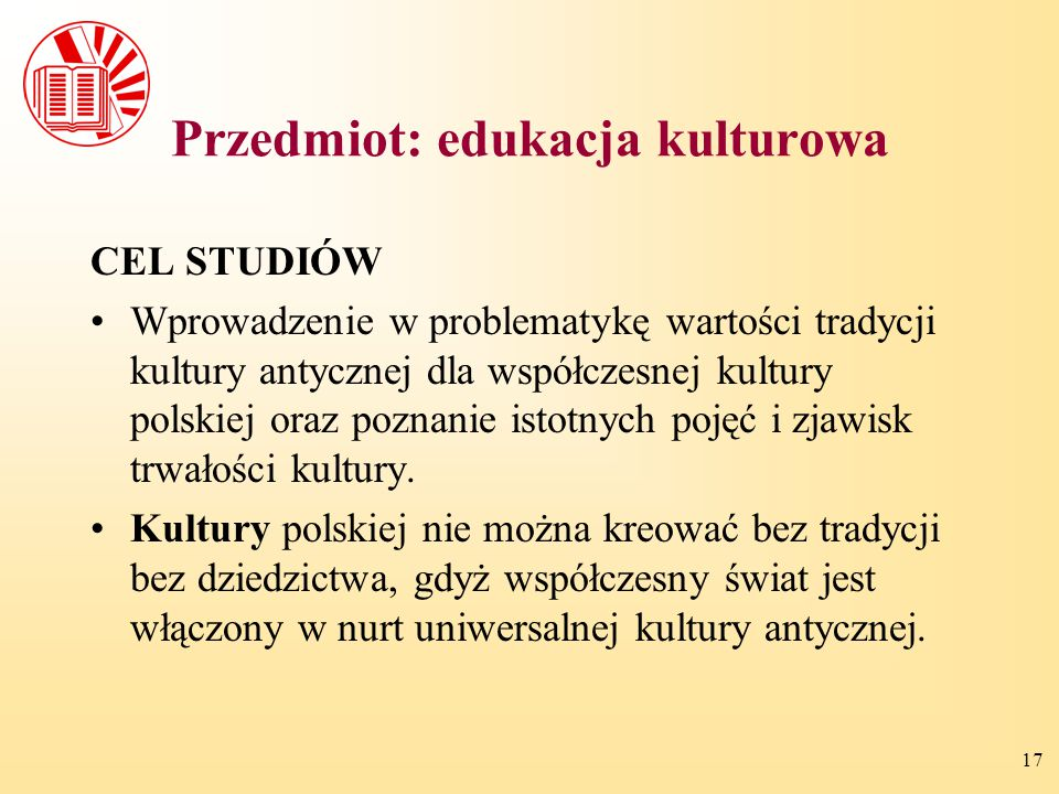 Przedmiot: edukacja kulturowa
