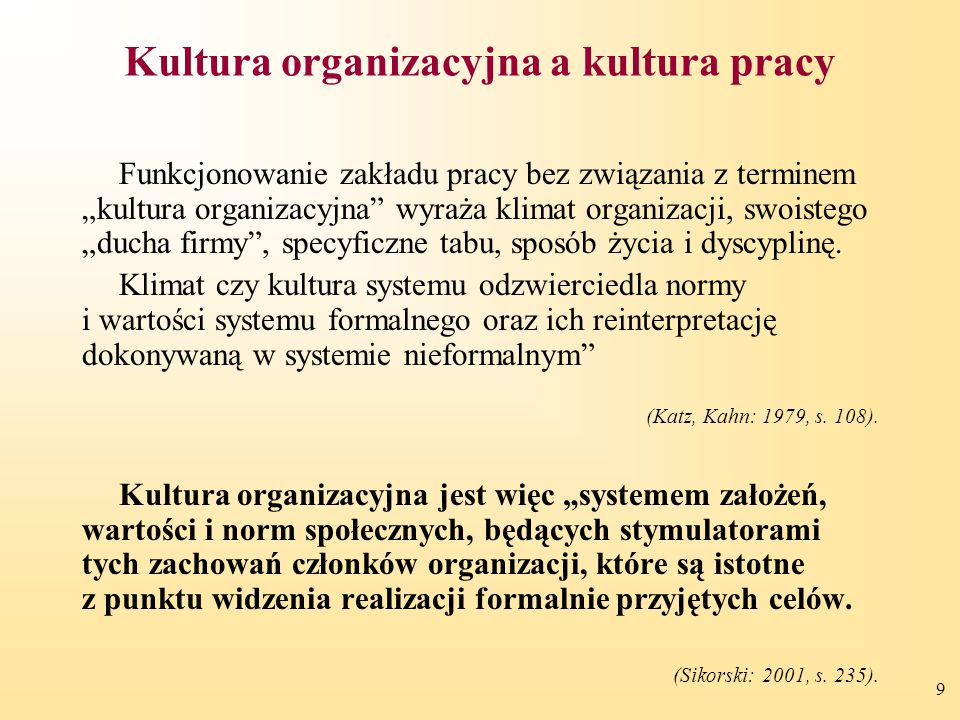 Kultura organizacyjna a kultura pracy