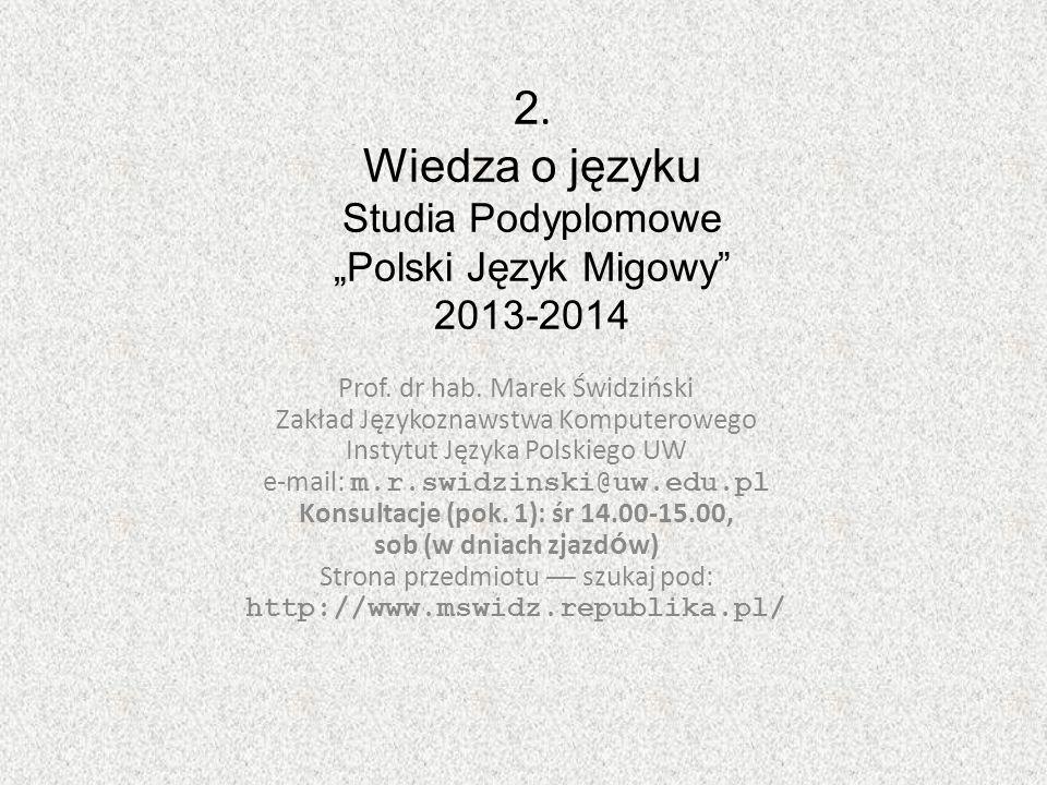 """2. Wiedza o języku Studia Podyplomowe """"Polski Język Migowy 2013-2014"""