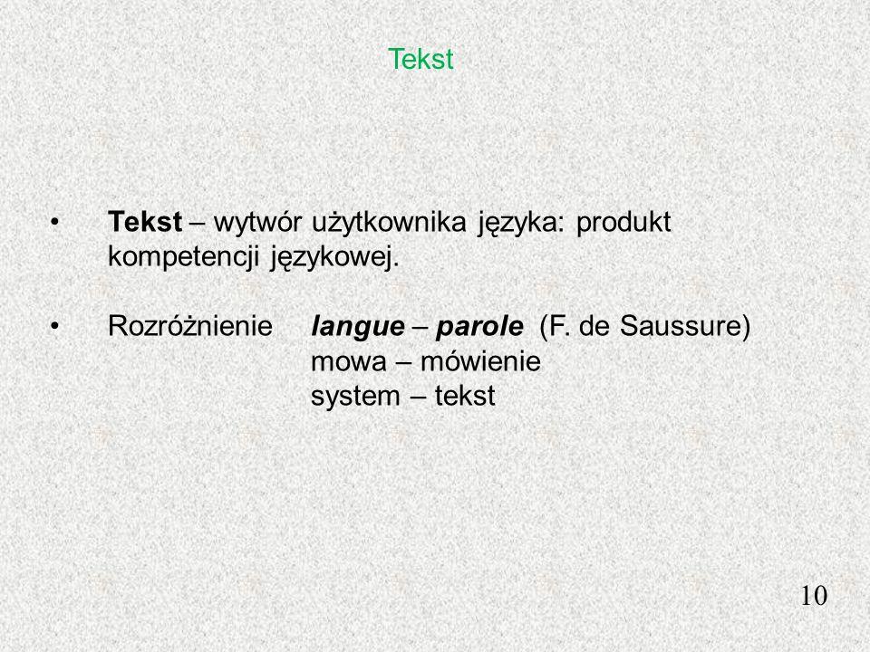 Tekst Tekst – wytwór użytkownika języka: produkt kompetencji językowej. Rozróżnienie langue – parole (F. de Saussure)