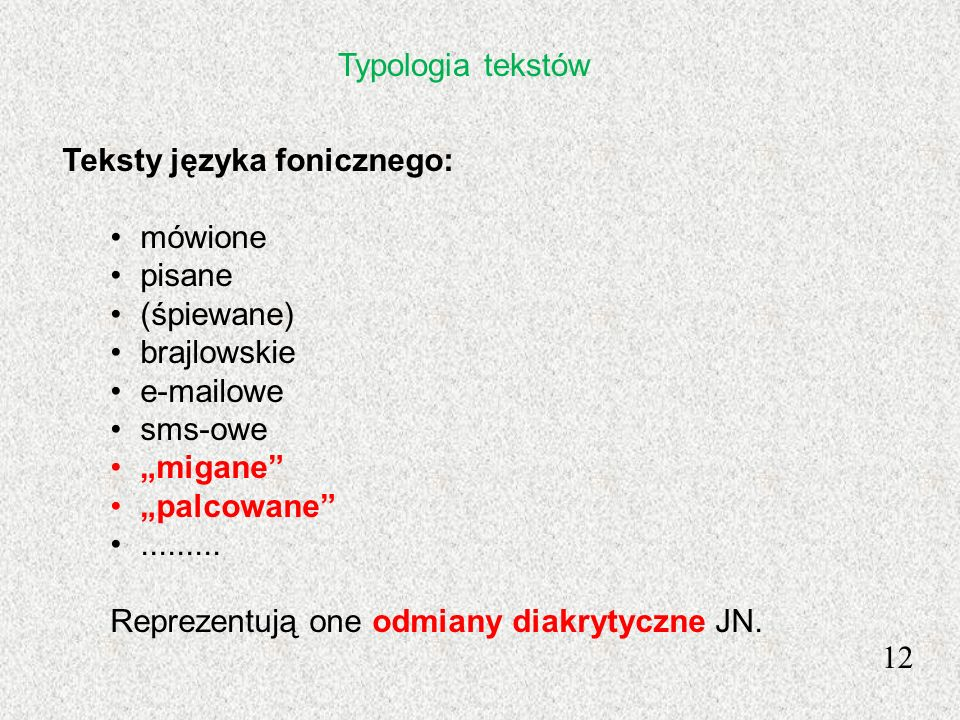 Typologia tekstówTeksty języka fonicznego: mówione. pisane. (śpiewane) brajlowskie. e-mailowe. sms-owe.