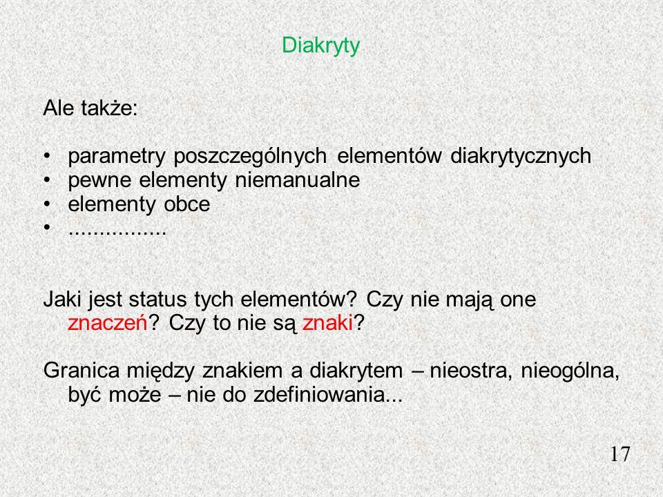 Diakryty Ale także: parametry poszczególnych elementów diakrytycznych. pewne elementy niemanualne.
