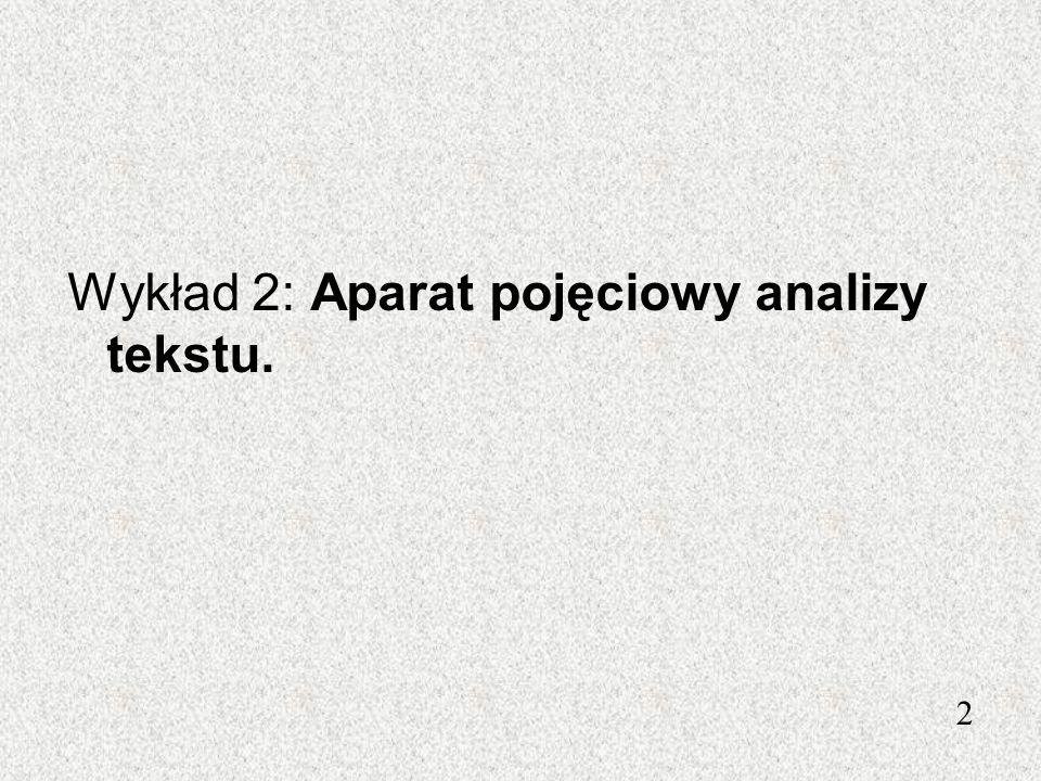 Wykład 2: Aparat pojęciowy analizy tekstu.