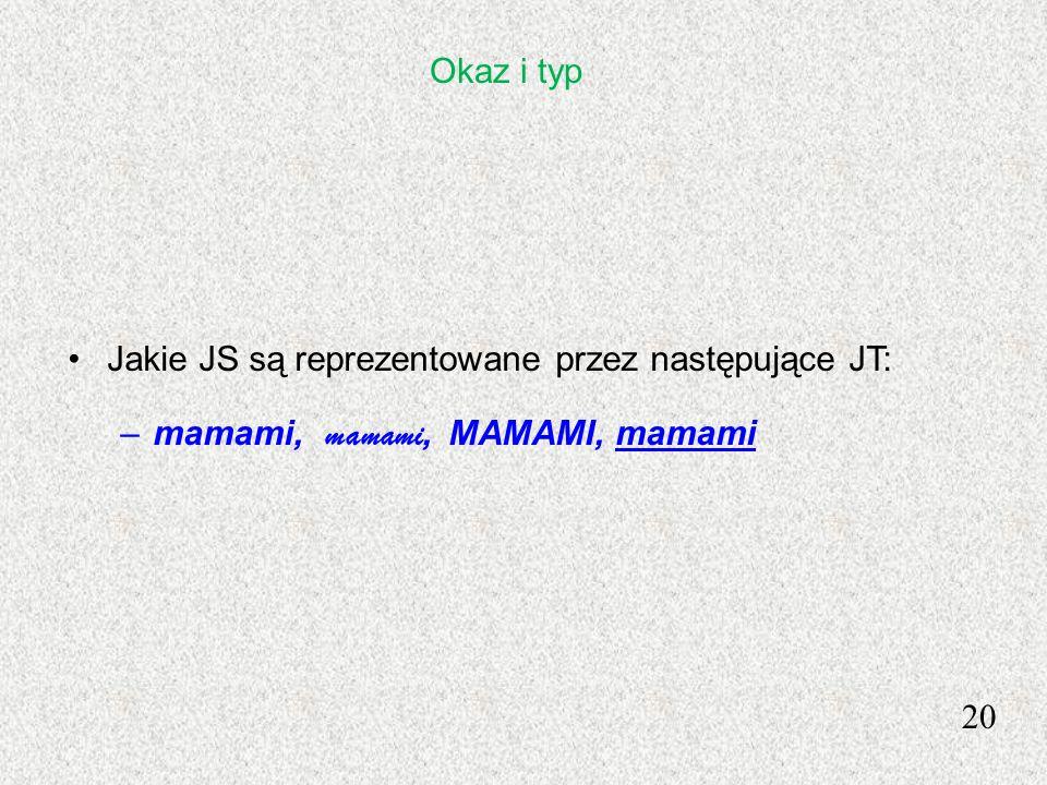 Okaz i typ Jakie JS są reprezentowane przez następujące JT: mamami, mamami, MAMAMI, mamami 20