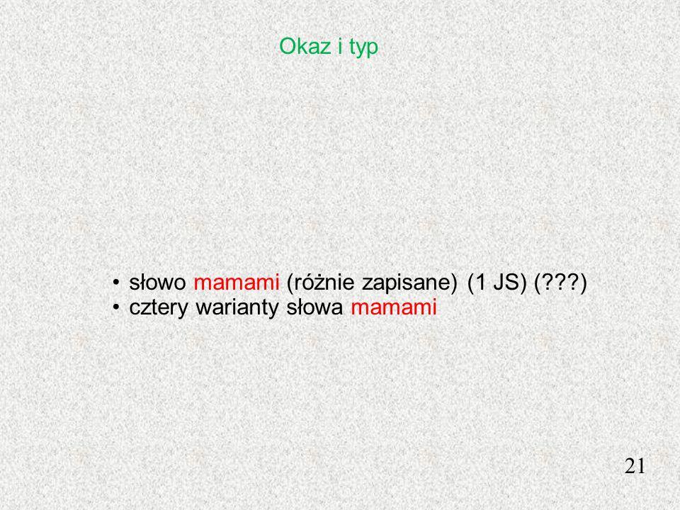 Okaz i typ słowo mamami (różnie zapisane) (1 JS) ( ) cztery warianty słowa mamami 21