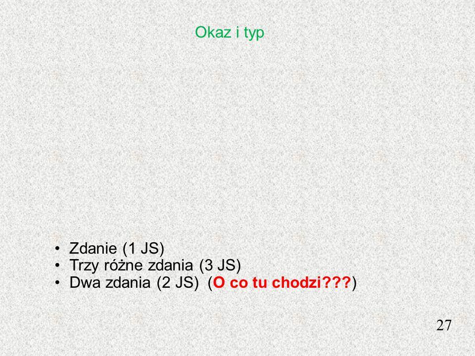Okaz i typ Zdanie (1 JS) Trzy różne zdania (3 JS) Dwa zdania (2 JS) (O co tu chodzi ) 27