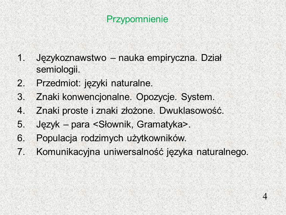 Przypomnienie Językoznawstwo – nauka empiryczna. Dział semiologii. Przedmiot: języki naturalne. Znaki konwencjonalne. Opozycje. System.