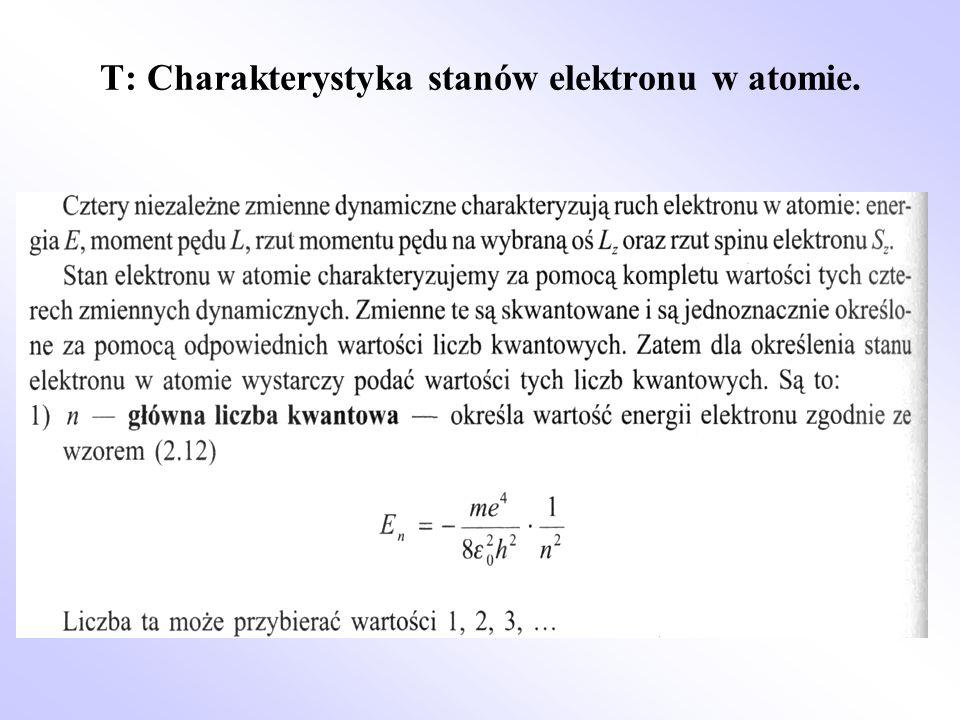 T: Charakterystyka stanów elektronu w atomie.