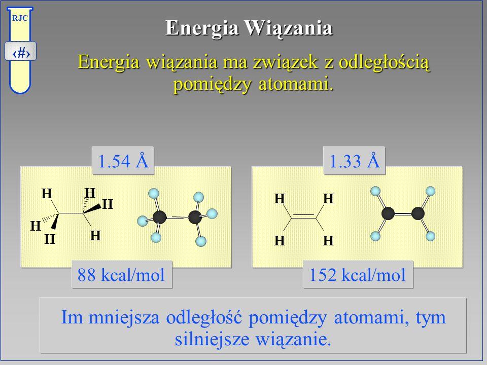 Energia Wiązania Energia wiązania ma związek z odległością pomiędzy atomami. Im mniejsza odległość pomiędzy atomami, tym silniejsze wiązanie.