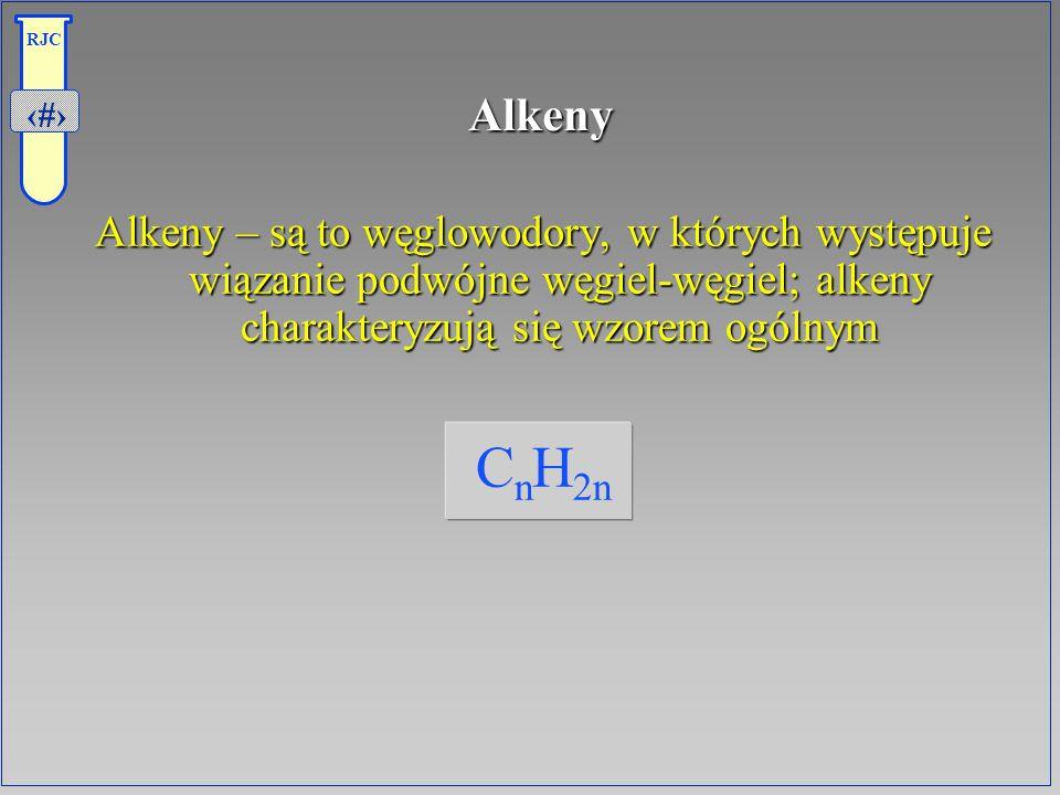 Alkeny Alkeny – są to węglowodory, w których występuje wiązanie podwójne węgiel-węgiel; alkeny charakteryzują się wzorem ogólnym.