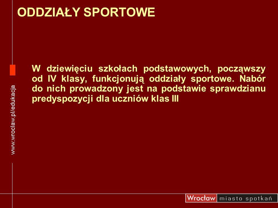 www.wroclaw.pl/edukacja ODDZIAŁY SPORTOWE.