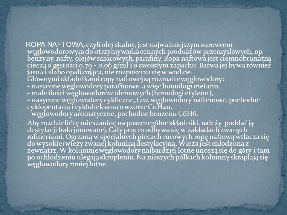 ROPA NAFTOWA, czyli olej skalny, jest najważniejszym surowcem węglowodorowym do otrzymywania cennych produktów przemysłowych, np.