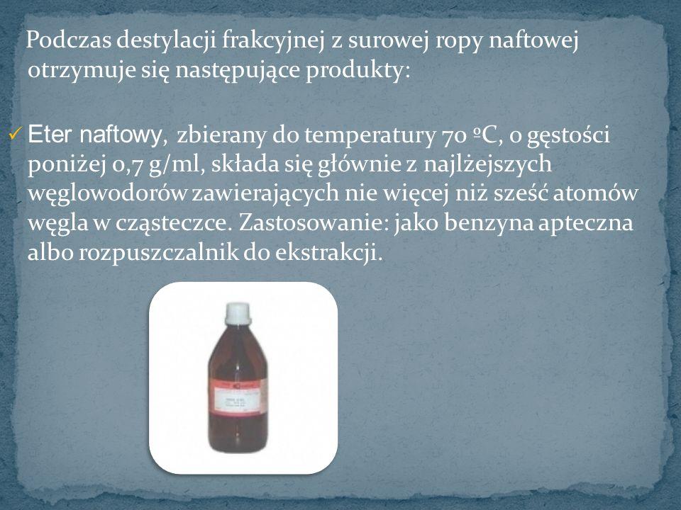 Podczas destylacji frakcyjnej z surowej ropy naftowej otrzymuje się następujące produkty: