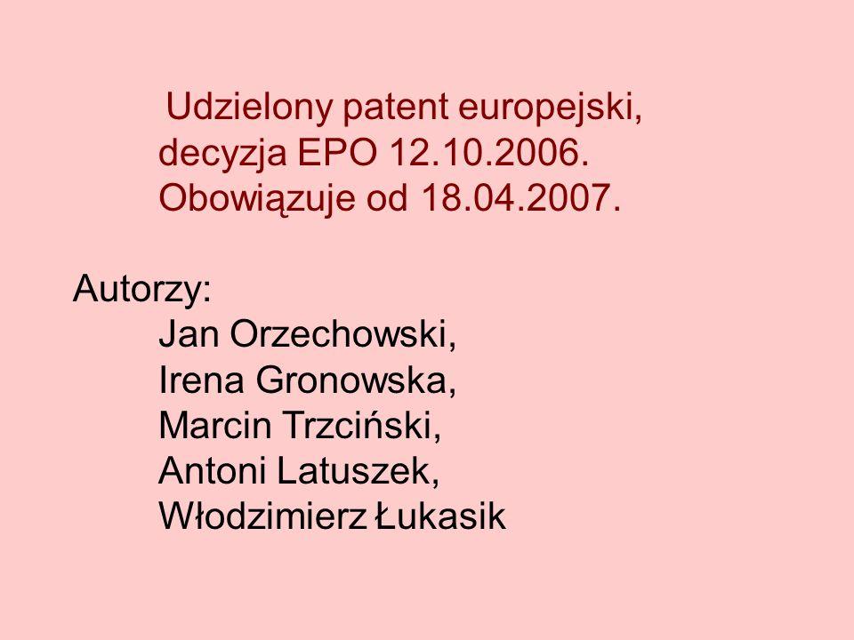 decyzja EPO 12.10.2006. Obowiązuje od 18.04.2007.