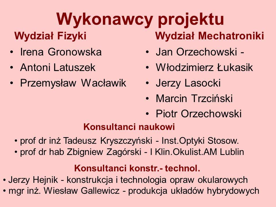 Wykonawcy projektu Wydział Fizyki Wydział Mechatroniki Irena Gronowska