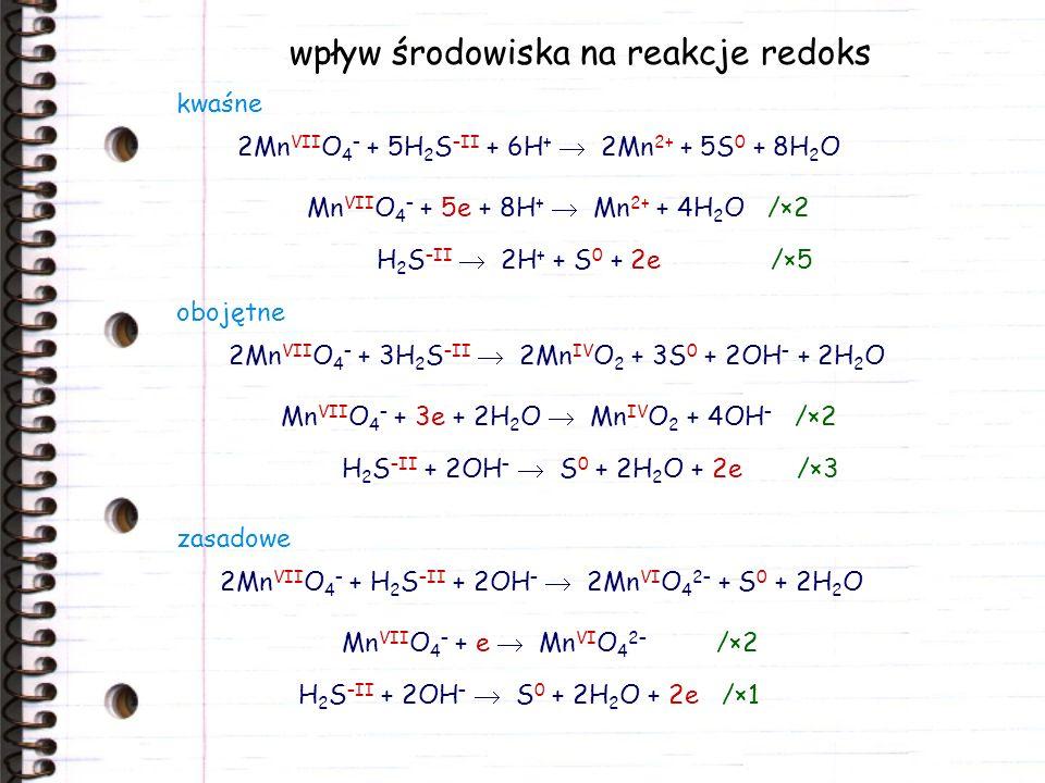 wpływ środowiska na reakcje redoks